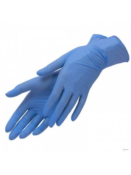 Перчатки голубые нитриловые, Benovy, S