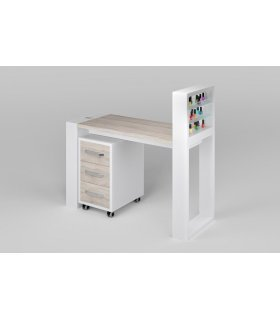 Одноместный маникюрный стол с подставкой для гель-лаков и тумбой