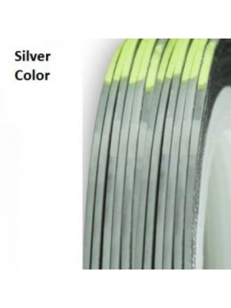 Нить для дизайна ногтей фольга, серебряная