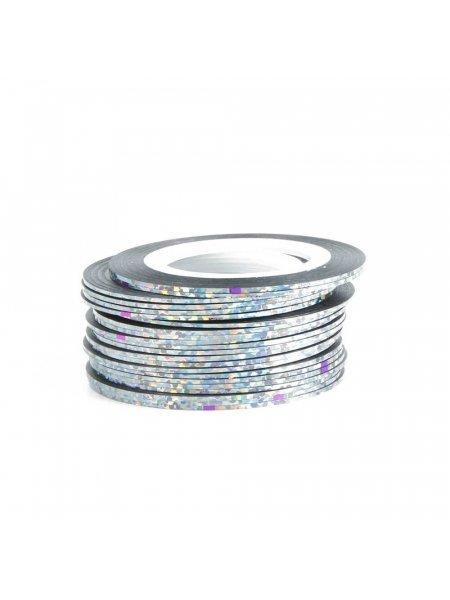 Нить для дизайна ногтей фольга, серебро
