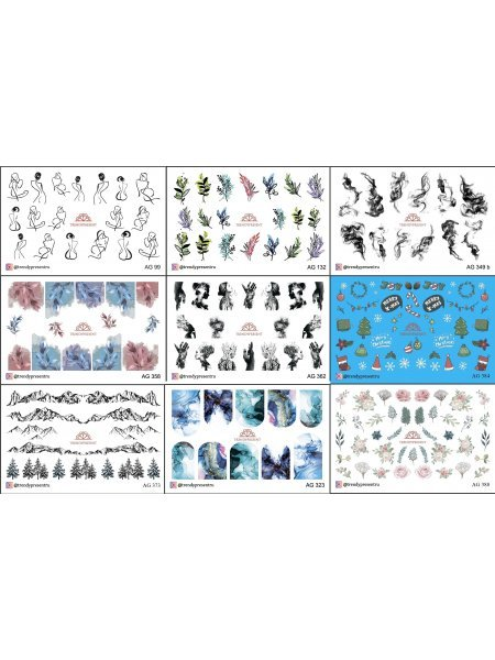 Набор слайдеров для дизайна ногтей, 9 шт