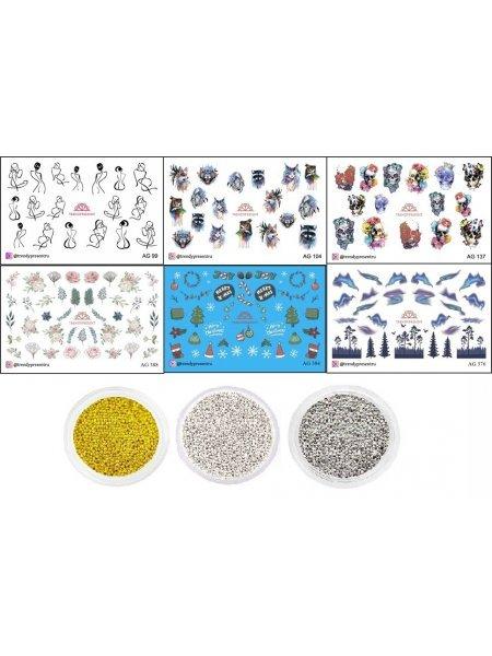 Набор слайдеров и бульонок для дизайна ногтей
